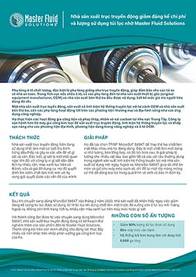 Nhà sản xuất trục truyền động giảm đáng kể chi phí và lượng sử dụng túi lọc nhờ Master Fluid Solutions ©2021 Master Fluid Solutions. Master Fluid Solutions®, TRIM® và MicroSol® là các nhãn hiệu đã đăng ký của Master Chemical Corporation, hoạt động kinh doanh dưới tên Master Fluid Solutions. 2021-1-29 Nhà sản xuất trục truyền động giảm đáng kể chi phí và lượng sử dụng túi lọc nhờ Master Fluid Solutions Phụ tùng ô tô chất lượng, đặc biệt là phụ tùng giống như trục truyền động, giúp đảm bảo cho các lái xe về nhà an toàn. Trong lĩnh vực sửa chữa ô tô, cả các phụ tùng đến từ nhà sản xuất thiết bị gốc (original equipment manufacturer, OEM) và nhà sản xuất bên thứ ba đều được sử dụng, bất kể mức giá mà người tiêu dùng đã chi. Một nhà sản xuất trục tuyền động, sản xuất cả linh kiện hệ thống truyền lực với tư cách OEM và nhà sản xuất bên thứ ba, cần các phụ tùng hoạt động tốt trên các phương tiện thương mại và địa hình cũng như các ứng dụng công nghiệp. Họ thực hiện các hoạt động gia công tiện và phay thép, nhôm và sợi cacbon tại khu vực Trung Tây. Công ty vận hành hơn 50 máy gia công kim loại để sản xuất trục truyền động, linh kiện hệ thống truyền lực và khớp vạn năng cho các phương tiện địa hình, phương tiện dùng trong nông nghiệp và ô tô OEM. THÁCH THỨC GIẢI PHÁP KẾT QUẢ NHỮNG CON SỐ ẤN TƯỢNG Nhà sản xuất trục truyền động hiện đang sử dụng chất làm mát có tuổi thọ bình hứng dầu thấp và gây ra các vấn đề về gỉ sắt và cặn. Đặc biệt, gỉ sắt là một mối quan ngại lớn đối với công ty vì gỉ sắt dẫn đến tích tụ nhiều cặn, màu xanh lục trên cả thành, cửa và giá đỡ dụng cụ. Họ đã quyết định tìm kiếm chất làm mát mới với hy vọng giải quyết được các vấn đề của mình. Họ đã lựa chọn TRIM® MicroSol® 585XT để thay thế hai chất làm mát khác nhau mà họ đang dùng. Đây là một chất làm mát dạng vi nhũ tương, bán tổng hợp, có độ bôi trơn cao, là giải pháp lý tưởng cho nhiều vật liệu, bao gồm tất cả các vật liệu thường dùng trong ngành sản xuất linh kiện hệ thống truyền lực mà nhà sản xuất sử d