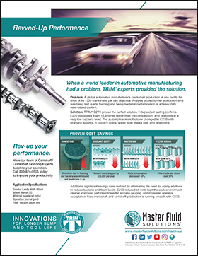 Revved-up Performance: Global Automotive Crankshaft Manufacturer Saves Coolant Costs www.masterfluidsolutions.com/na/en-us/ Rev-up your performance. Have our team of Camshaft/ Crankshaft Grinding Experts baseline your operation. Call 800-874-0105 today to improve your productivity PROVEN COST SAVINGS Downtime due to foaming and bacteria was eliminated and production is up. Application Specifications Grinder: Landis Multi-Wheel Wheel: Norton SG Material: powdered metal Operation: journal grind Filter: vacuum paper bed INNOVATIONS F O R L O N G E R S U M P A N D T O O L L I F E ©2019 Master Fluid Solutions. Master Fluid Solutions® and TRIM® are registered trademarks of Master Chemical Corporation d/b/a Master Fluid Solutions. 2019-12-05 ReOvvveedr -tUhep LPoenrfgo rHmaaunl ce Additional significant savings were realized by eliminating the need for costly additives to reduce bacteria and foam levels. C270 reduced oil mist, kept the work environment cleaner, improved part cleanliness for process gauging, and increased operator acceptance. Now crankshaft and camshaft production is running smooth with C270. When a world leader in automotive manufacturing had a problem, TRIM® experts provided the solution. Problem: A global automotive manufacturer's crankshaft production at one facility fell short of its 1500 crankshafts per day objective. Analysis proved further production time was being lost due to foaming and heavy bacterial contamination of a heavy-duty ester-based coolant. Solution: TRIM® C270 proved the perfect solution. Independent testing confirms C270 dissipates foam 13.9 times faster than the competition, and operates at a very low bacteria level. The automotive manufacturer changed to C270 with dramatic savings in coolant costs, water, filter media use, and downtime. Coolant costs dropped by $36,000 per year. Water consumption decreased 40%. Filter media use down over 30%. BBEEFFOORREE WITH TRIM C270 BBEEFFOORREE WITH TRIM C270 $ $ $ $ BBEEFFOORREE WITH TRIM C27